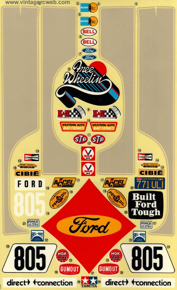 Vintage Ford Decals : Decals for vintage tamiya kyosho ayk hirobo marui nichimo